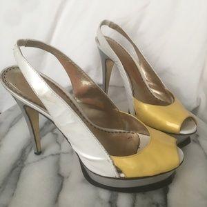 Bebe color block grey yellow white slingback heels